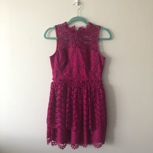 Fuchsia Pink Lace Cocktail Dress